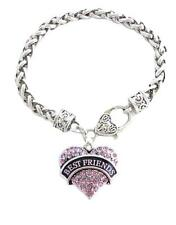 Best Friends Pink Crystal Heart Silver Lobster Claw Bracelet Jewelry Gift BFF