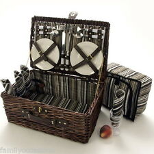 4 PERSON WICKER PICNIC HAMPER BASKET WITH MATCHING COOLER BAG BY LA ROCA