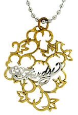Ed Hardy Logo Pendant Necklace in Stainless Steel and Bronze