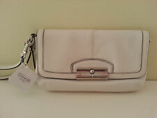 New w/Tag Coach Luxuriously Soft Leather Wristlet Mini Bag, White Rt.$118