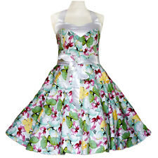 Rockabilly 50er   Kleid Petticoat Pin Up Party Baumwolle L 59 mehrfarbig