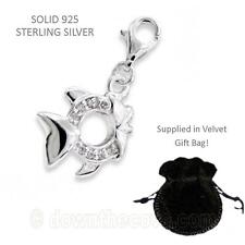 Silver Fish Charm - Solid 925 Sterling Silver Charm - Gift Bag - Lobster Clasp