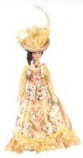 Dollhouse Miniature Doll Mother Victorian Porcelain Floral Dress & Hat 1:12
