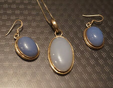 Vintage Sterling silver necklace and earring set, blue center stone/glass