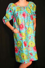 S-M VTG 60s 70s BLUE HAWAIIAN FLORAL CAFTAN MUMU Luau Beach Party LOUNGER DRESS