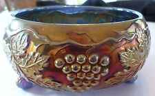 "Circa 1910 Fenton Art Glass Co. ""Grapes & Leaves"" Carnival Glass 3 Footed Bowl"