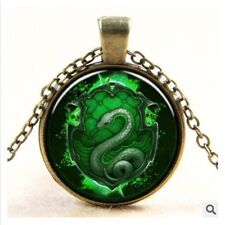 Harry Potter Green Snake Badge Glass Photo Art Pendant Chain Necklace