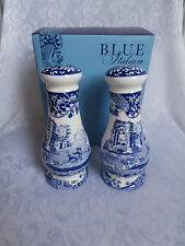 SPODE BLUE ITALIAN BLUE & WHITE PORCELAIN TALL SALT AND PEPPER POTS SHAKERS SET