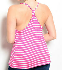 Size 1XL TANK TOP SHIRT Womens Plus PINK & WHITE STRIPED Racer Back FINESSE New