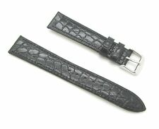 18mm Quality Genuine Leather Thin Croco Grain Black Watch Band