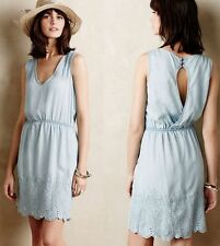 HOLDING HORSES Anthropologie Blue Chambray Denim Dress S Embroidered
