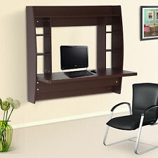 HomCom Office Computer Desk Floating Wall Mount Desk Storage Shelf Brown