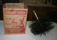 "Vintage Chimney Brush for Square or Round Wood Stove or Fireplace 8"" Wire"
