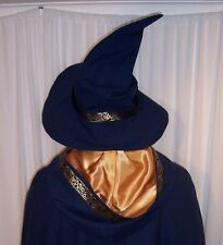 Wizard Blue Wool Handmade Hat Celtic Trim Fully Lined Men's L to XL READY NOW