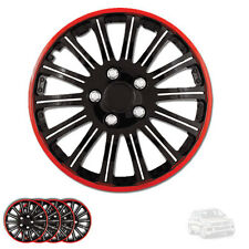 NEW 15 INCH BLACK W RED RIM WHEEL HUBCAPS COVER LUG SKIN SET FOR VW 527