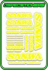 SANWA RC RADIO CONTROL STICKERS MT4 M12 SERVO RX TX CAR BUGGY RACE YELLOW WHITE