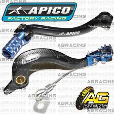 Apico Black Blue Rear Brake & Gear Pedal Lever For Yamaha YZF 250 2012 Motocross