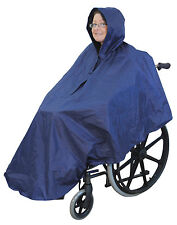 Wheelchair Poncho Waterproof Cover With Hood Disability Rain Mac / Coat