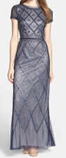 Adrianna Papell New Short-Sleeve Beaded Gown Size 8 MSRP $299 #CN 862