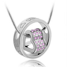 NEW Fashion Women Heart Purple Crystal Charm Pendant Chain Necklace Silver RZ08