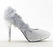 Glitter Sparkly Floral Gorgeous Wedding Bridal Shoes Women Party High Heels Pump