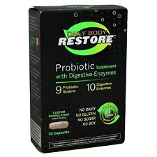 Daily Body Restore Probiotic Supplement Capsules w/ Digestive Enzymes 30 ea