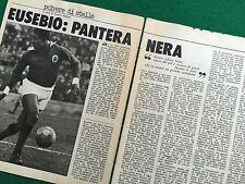 OG109 Clipping Ritaglio (Anni '70) 25x19 cm 2 pag EUSEBIO BENFICA PORTOGALLO