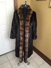 ANTONOVICH VINTAGE FULL LENGTH DARK BROWN MINK W/ SABLE COLLAR FUR COAT JACKET