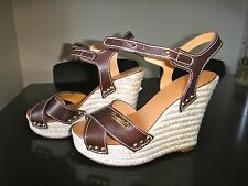 DSQUARED WEDGES SANDALS LEATHER EUR 37.5 US 7.5 NEW!