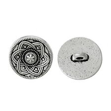 GB 30pcs Silver Tone Flower Decorative Metal Button Fit Sewing Scrapbooking 15mm