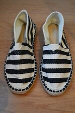 WOMENS PUZZLE BLACK & NATURAL STRIPE SLIP ON SHOES SIZE 39 BRAND NEW