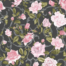 New Muriva - Rose Trellis - Pink & Black - Luxury Floral Wallpaper - 135501