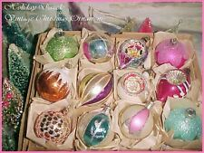 Beautiful ~ Vtg Poland Indent Pointed Tips Sparkly Glitter Glass Xmas Ornaments