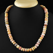 313.15 CTS NATURAL UNTREATED GENUINE RICH PINK AUSTRALIAN OPAL BEADS NECKLACE