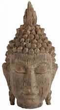 Carved Wooden Thai Buddha Head Statue Home Decoration Sculpture Large Ornament