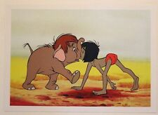 "Disney Art Print Lithograph 11""x14"" The Jungle Book Mowgli and Junior Elephant"