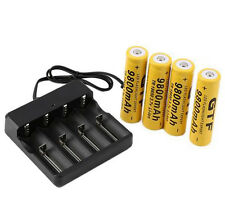 4pcs 18650 3.7V 9800mAh Rechargeable Li-ion Battery Charger + EU plug Indicator