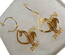 "New! 18K GF GOLD BIG BABY PHAT Dangle CAT Design Fashion HOOP EARRINGS 2.5"" Long"