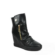 WOMENS LADIES HIDDEN WEDGE SLOUCH HIGH TOP SNEAKERS ANKLE BOOTS SHOES SIZE 3-8