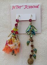 NWT BETSEY JOHNSON MISMATCHED COLORFUL EARRINGS SKELETON GIRL DRESS/CRYSTALS