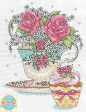 Cross Stitch Kit ~ Design Works Teacup Roses Floral Teatime w/Cupcake #DW2851