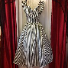 VINTAGE 1950's Victorian striped dress w/ built in crinoline EUC!!!