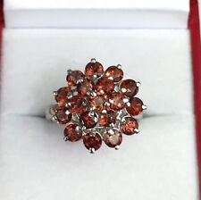 Solid .925 Silver Cute Flower Cluster Ring, Natural Garnet 3.9TCW, Sz 7