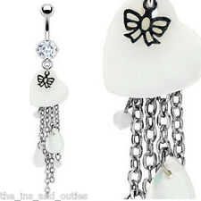 Mother of Pearl Tear Drop Belly Ring Navel Bead (w609)
