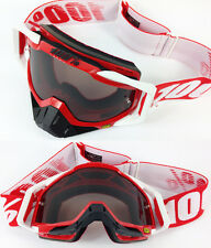 100% PERCENT RACECRAFT MOTOCROSS GOGGLE FIRE RED with SMOKE TINTED LENS