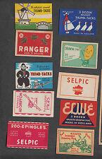 Ensemble de 10  étiquettes Allumettes Belgique étiquette boîtes Epingles