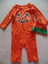 NEW baby boys girls unisex 2 PC PUMPKIN OUTFIT HAT halloween costume 0-3 MONTHS