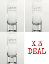 Personalised Engraved Shot Glass, Usher, Best Man, Groom, Wedding Gift X3 Deal