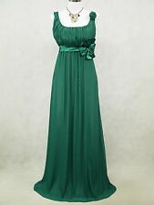 Cherlone Clearance Chiffon Dark Green Long Ball Gown Wedding/Evening Dress 14-16
