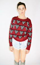 NEW women korean fashion style cozy red sweater aztec print urbanoutfitters